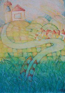 Tramonto in piccolo Paese - 2017 - Olio su tela - 50x70 cm